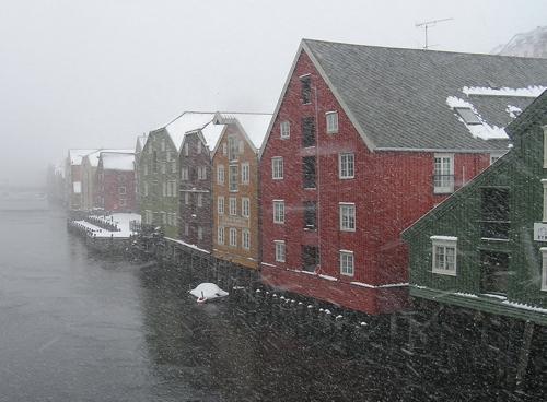 Snowy Trondheim riverfront