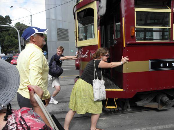 pushing tram