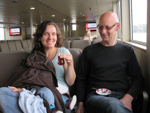 feeding on the ferry