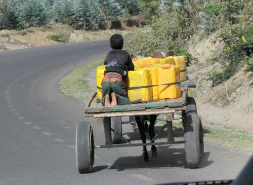 Boy transporting water by wagon